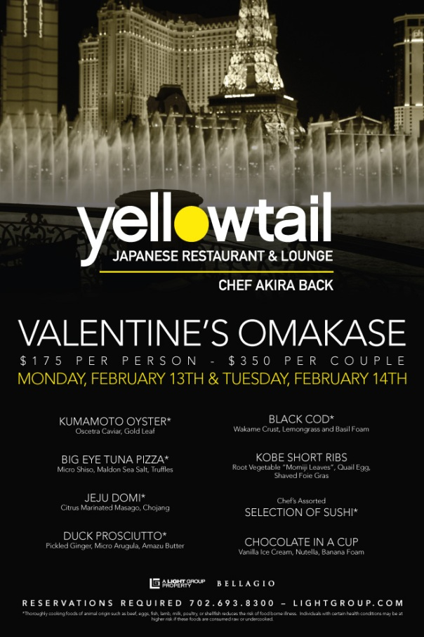 Yellowtail Valentine's Day Menu
